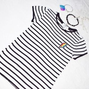 Forever 21 LA Striped T-Shirt with Lightning Patch